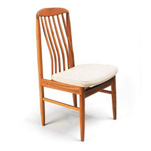 Scandinavian Furniture Metairie SUN - BL10 TEAK DINING SIDE CHAIR WITH BEIGE FABRIC SEAT CUSHION